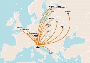 map rimini flights
